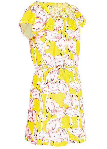 Name It Kids Mädchen Off-Shoulder Dress Flamingo Print primrose gelb rosa
