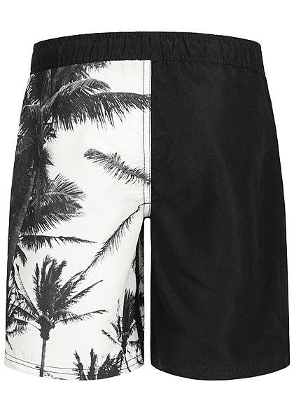 Name It Kids Jungen Long Swim Shorts Palm Leaf Print Zip Pocket schwarz