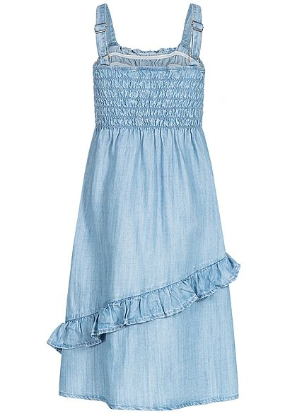 Name It Kids Mädchen Volant Denim Dress hell blau