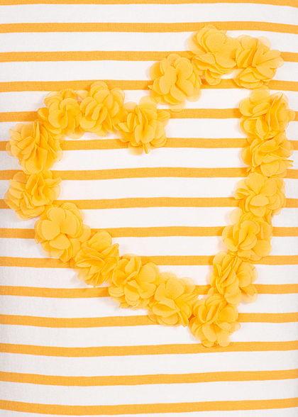 Name It Kids Mädchen Striped Tank Top Heart Flowers weiss pale marigold gelb