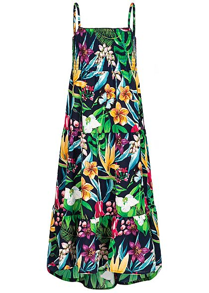 Name It Kids Mädchen Maxi Dress Flower Print dark sapphire blau multicolor