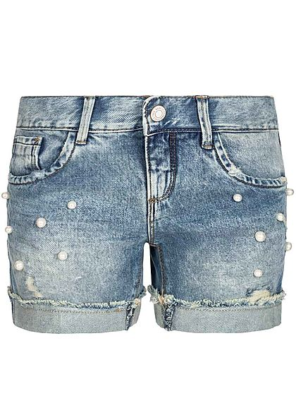 Name It Kids Mädchen Jeans Shorts Deco Pearls 5-Pockets NOOS hell blau denim