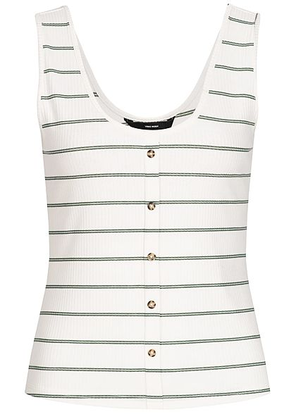 Vero Moda Damen Rib Striped Tank Top Buttons Front snow weiss grün
