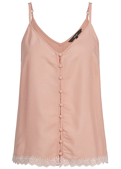 Vero Moda Damen Adjustable Strap Top Buttons Front misty rosa