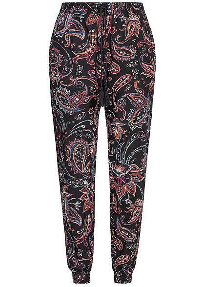 293eaadedf7056 Hailys Damen Summer Pants 2-Pockets Paisley Print schwarz multicolor