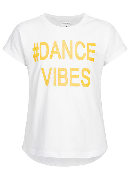 Name It Kids Mädchen T-Shirt Dance Vibes Glitter Print bright weiss gelb - Art.-Nr.: 19051994