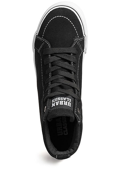 Urban Classics Heren Schoen High Canvas Sneaker Suede Look zwart wit