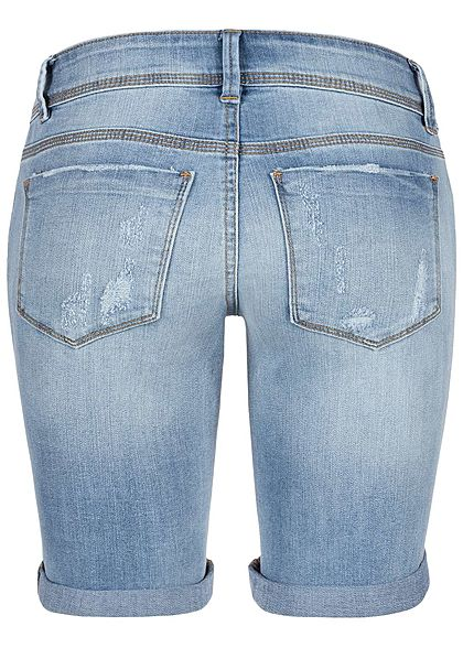 Hailys Damen Bermuda Jeans Shorts 5-Pockets Destroy Optik medium blau denim