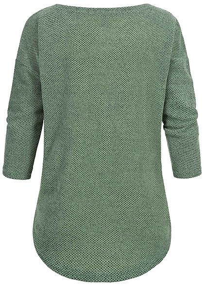 ONLY Damen NOOS 3/4-Arm Struktur Shirt Vokuhila bay grün