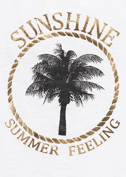 Hailys Damen Tank Top Bindedetail vorne Sunshine Palmen Print off weiss gold