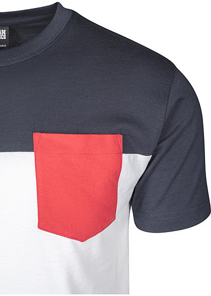 Urban Classics Heren Colorblock Pocket T-Shirt wit navy rood