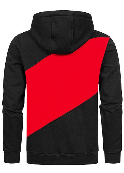 Urban Classics Heren Colorblock Zig Zag Hoodie zwart rood grijs