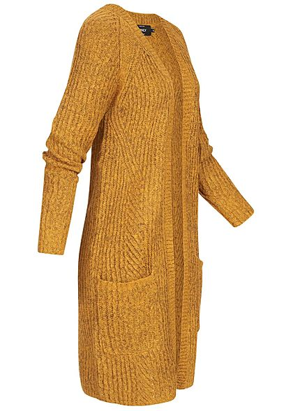ONLY Damen NOOS Grobstrick Cardigan 2-Pockets golden glow gelb