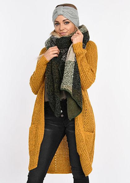 ONLY Damen NOOS Grobstrick Cardigan 2-Pockets golden glow gelb