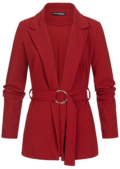 Styleboom Fashion Damen Blazer Jacket Buttons Front wine rot
