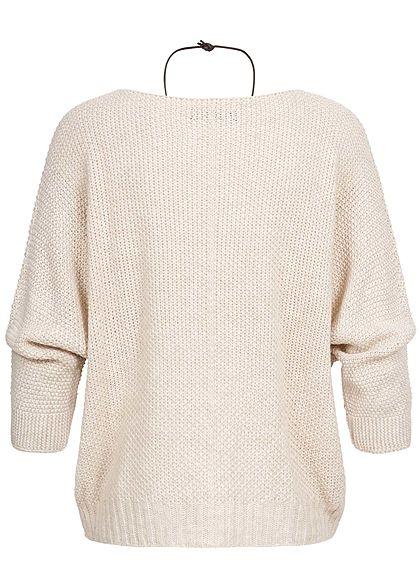 Styleboom Fashion Damen Strickpullover Fledermausärmel inkl. Kette beige