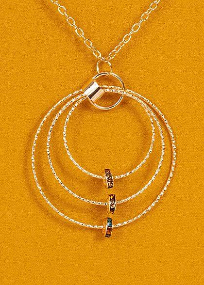 Styleboom Fashion Damen Chiffon Top 2-lagig inkl. Kette senf gelb