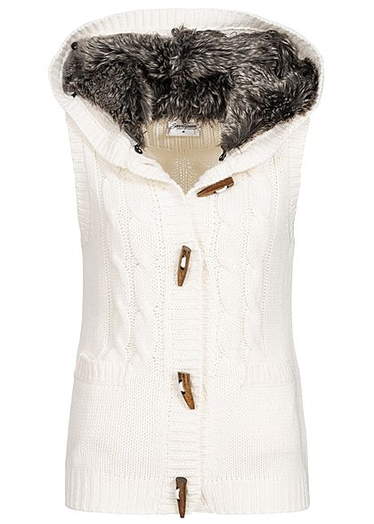 Seventyseven Lifestyle Damen Fake Fur Knit Vest ecru weiss - Art.-Nr.: 19098066