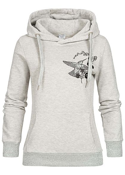 Fresh Made Damen Lurex Hoodie Kapuze Vogel Blumen Patch Kängurutasche beige silber - Art.-Nr.: 19104215
