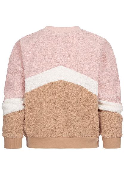 Hailys Kids Mädchen Colorblock Sweater Teddyfell rosa weiss braun