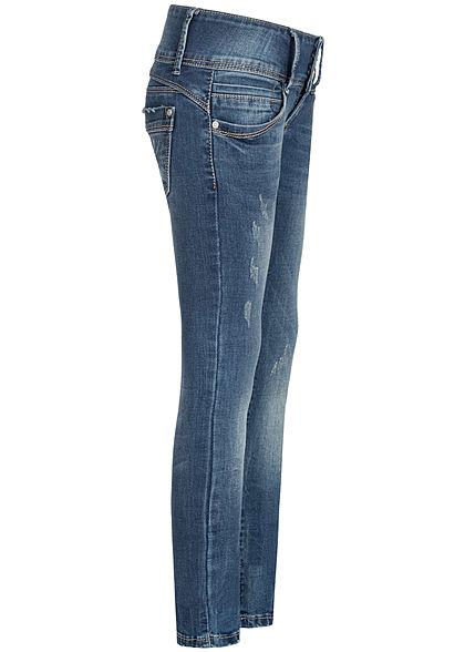 Hailys Kids Mädchen Low-Waist Skinny Jeans 5-Pockets breiter Bund dunkel blau denim