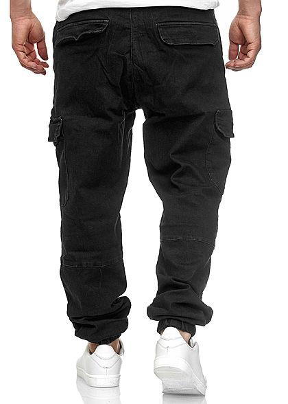 Urban Classics Heren Cargo Jeans Broek 6-Pockets rinsed wash zwart