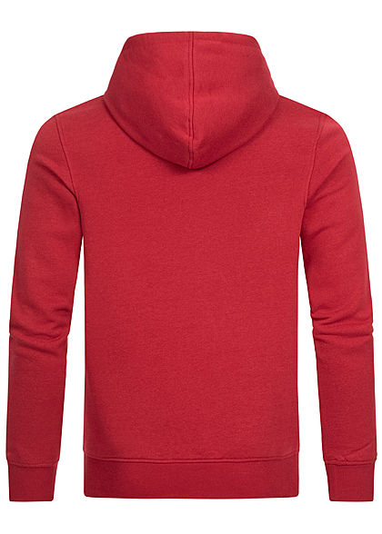 Jack and Jones Herren Hoodie Kapuze Logo Print rio rot
