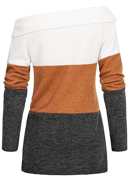Styleboom Fashion Damen One-Shoulder Colorblock Pullover weiss braun schwarz