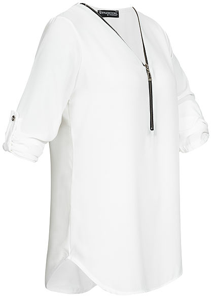 Styleboom Fashion Damen V-Neck Turn-Up Chiffon Bluse Zipper weiss