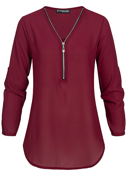 Styleboom Fashion Damen V-Neck Turn-Up Chiffon Bluse Zipper bordeaux rot