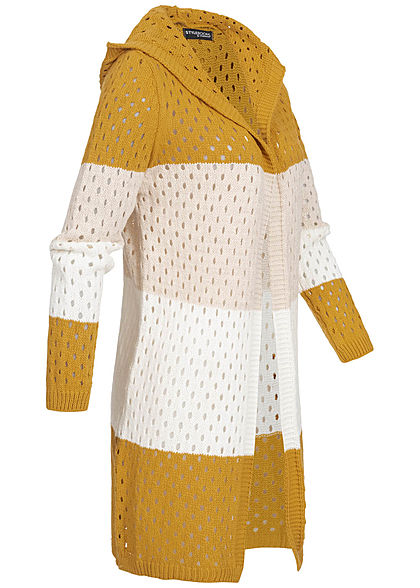 Styleboom Fashion Damen Colorblock Strick Cardigan Kapuze gelb beige weiss