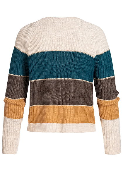Styleboom Fashion Damen Colorblock Strickpullover Lurex beige petrol braun camel