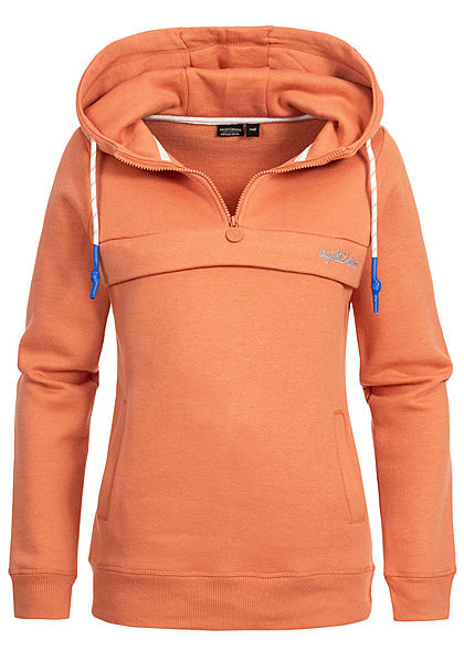 Eight2Nine Damen Pull Over Half-Zip Hoodie Kapuze Kängurutasche orange - Art.-Nr.: 19115130