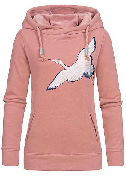 Rock Angel Damen Sweat Hoodie Kapuze 2-Pockets Vogel Patch ash rosa - Art.-Nr.: 19115256