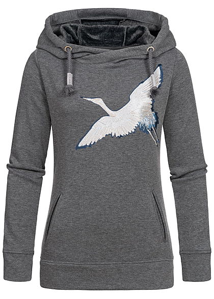 Rock Angel Damen Sweat Hoodie Kapuze 2-Pockets Vogel Patch dunkel grau melange - Art.-Nr.: 19115257