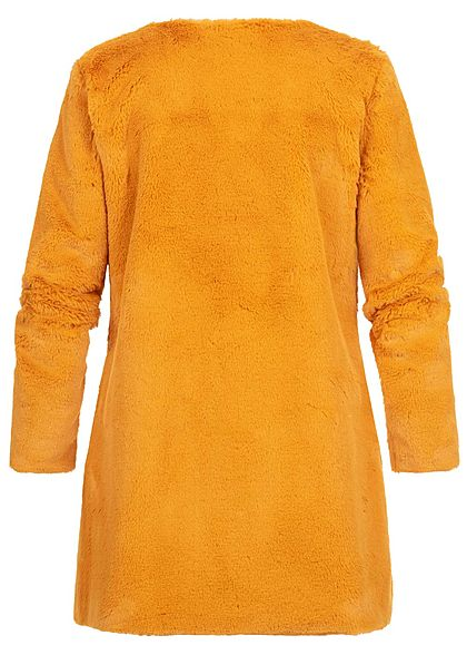Styleboom Fashion Damen Kunstfell Cardigan 2-Pockets gelb