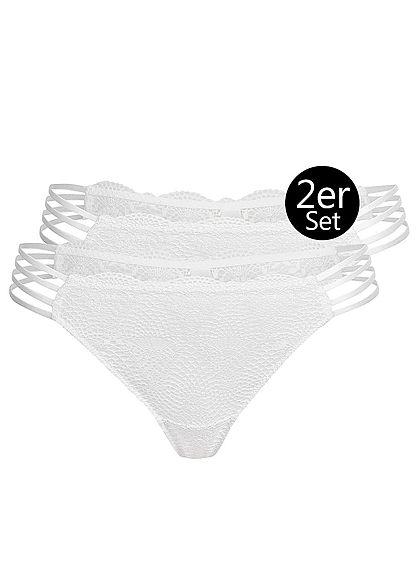 Seventyseven Lingerie Damen 2er-Set Spitzen String Slips Bänder seitlich weiss