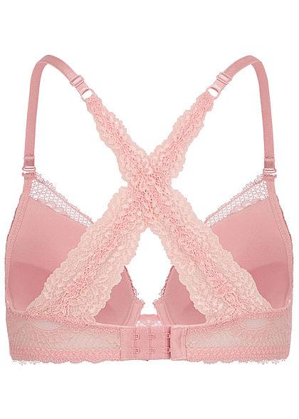 Seventyseven Lingerie Damen Push-Up BH mit Spitzen Detail hell rosa