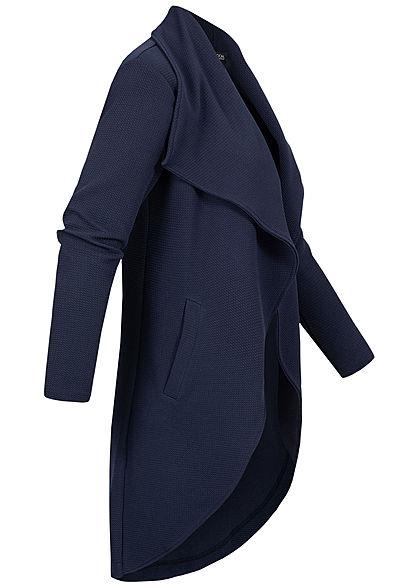 Styleboom Fashion Damen Draped Midi Cardigan 2-Pockets offener Schnitt navy blau