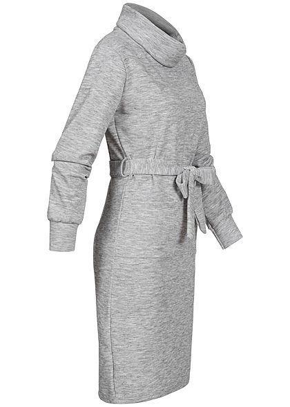 Styleboom Fashion Damen Rollkragen Kleid inkl. Gürtel 2-Pockets hell grau melange