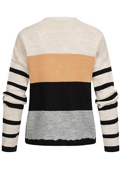 Styleboom Fashion Damen Colorblock Strickjacke Streifen Muster multicolor