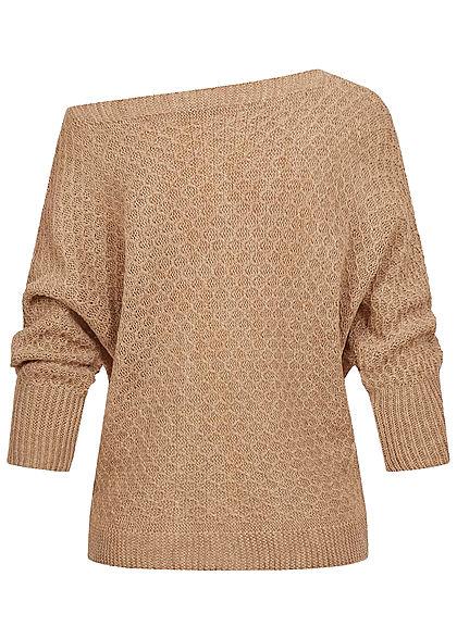 Styleboom Fashion Damen One-Shoulder Strickpullover Raute Muster beige braun