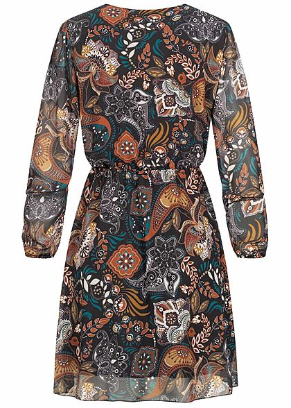 Styleboom Fashion Damen V-Neck Chiffon Kleid Floraler Print schwarz multicolor