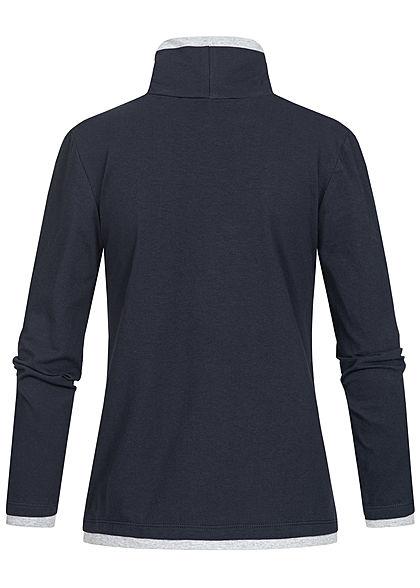 Styleboom Fashion Damen Rollkragen Longsleeve 2in1 Optik Brusttasche navy blau