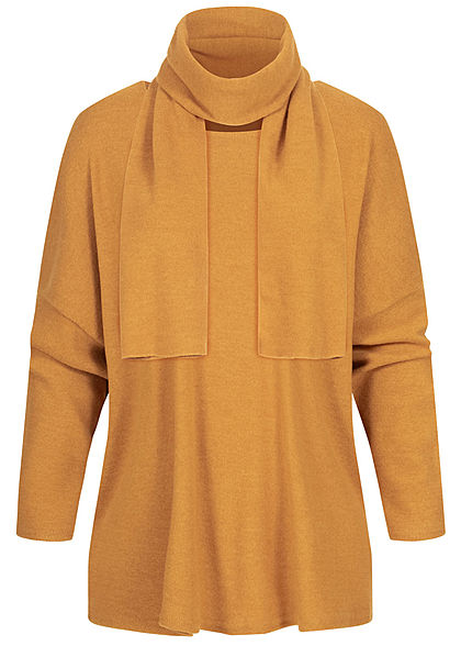 Styleboom Fashion Damen Oversized Soft-Touch Pullover inkl. Schal curry gelb - Art.-Nr.: 20016120