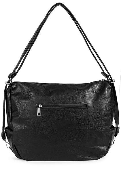 Styleboom Fashion Damen Kunstleder Handtasche 43x32cm 3-Zip-Pockets schwarz