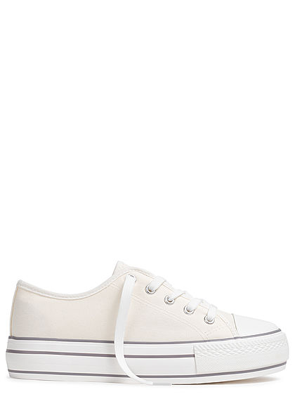 Hailys Damen Schuh Canvas Sneaker hohe Sohle 4cm weiss