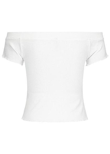 Urban Surface Damen Ribbed Carmen Shirt Frill am Saum off weiss