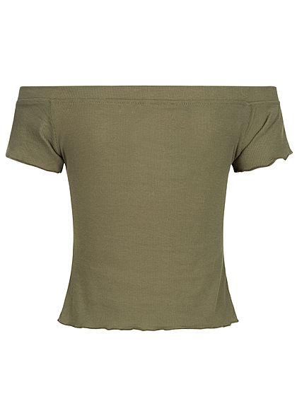 Urban Surface Damen Cropped Off-Shoulder T-Shirt ivy oliv