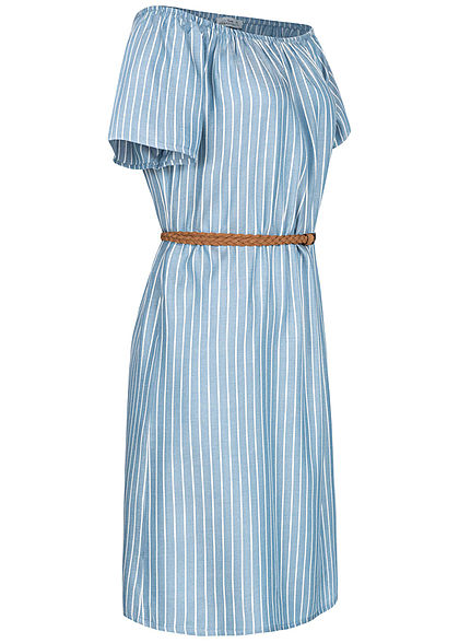Urban Surface Damen Mini Off-Shoulder Kleid Streifen Muster inkl. Gürtel blau weiss